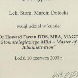 Marcin Dolecki certyfikaty 46
